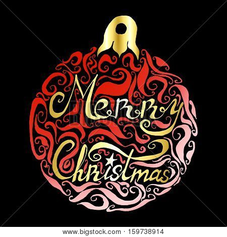 Round lettering card for Xmas Christmas holiday season christmas decoration gold