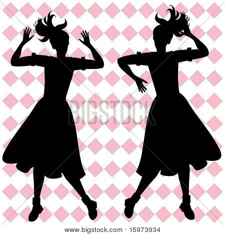 girls having fun retro silhouette vector