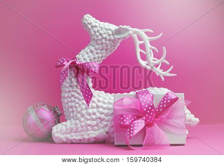 Pink Theme Reindeer, Bauble And Present Gift Christmas Still Life