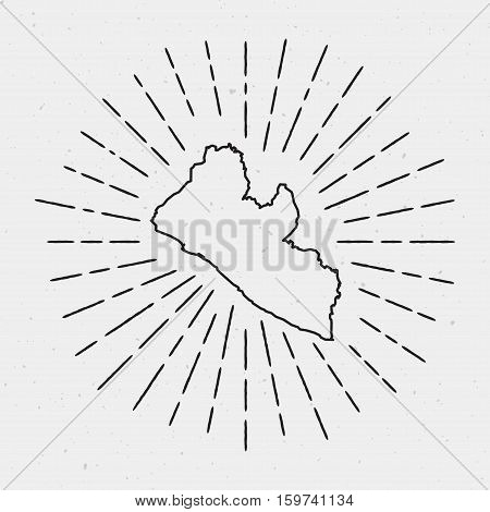Vector Liberia Map Outline With Retro Sunburst Border. Hand Drawn Hipster Decoration Element. Black