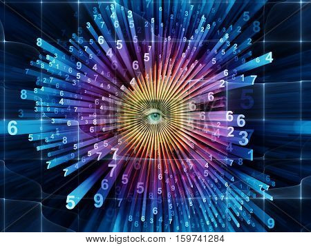 Evolving World of Numbers. Female eye and digital burst.