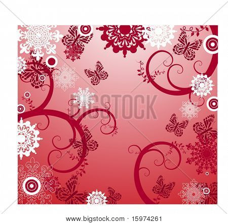 snowflakes vines and butterflies vector