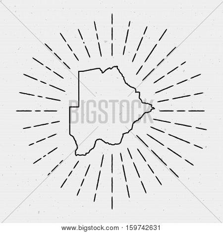 Retro Sunburst Hipster Design. Botswana Map Surrounded By Vintage Sunburst Rays. Trendy Hand Drawn S