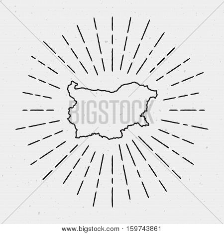 Retro Sunburst Hipster Design. Bulgaria Map Surrounded By Vintage Sunburst Rays. Trendy Hand Drawn S