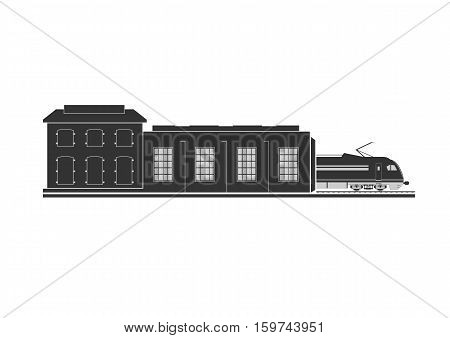 Locomotive depot. Object isolated on white. Vector illustration.
