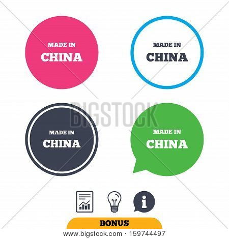 Made in China icon. Export production symbol. Product created in China sign. Report document, information sign and light bulb icons. Vector