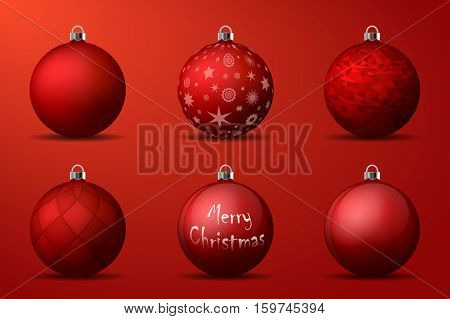 Red Christmas Balls With Silver Holders. Set Of Isolated Realistic Decorations On Burgundy Backgroun