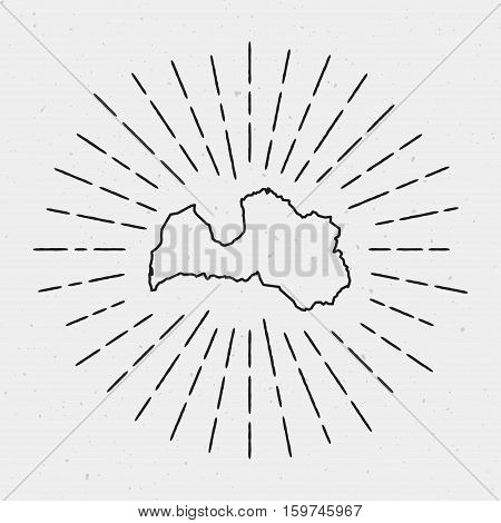Retro Sunburst Hipster Design. Latvia Map Surrounded By Vintage Sunburst Rays. Trendy Hand Drawn Sun