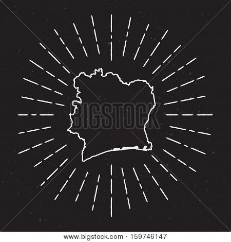 Cote D'ivoire Vector Map Outline With Vintage Sunburst Border. Hand Drawn Map With Hipster Decoratio