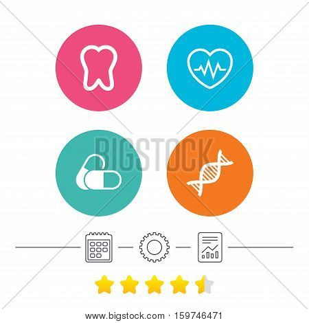 Maternity icons. Pills, tooth, DNA and heart cardiogram signs. Heartbeat symbol. Deoxyribonucleic acid. Dental care. Calendar, cogwheel and report linear icons. Star vote ranking. Vector