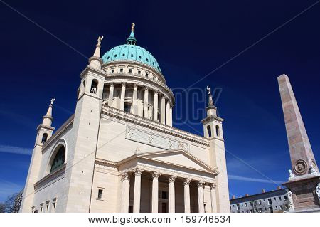 Nikolai Church with blue sky on the background. Potsdam Germany - 20.04.2016.