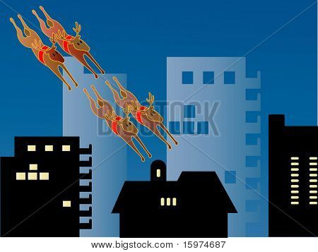 reindeer swooping though the city