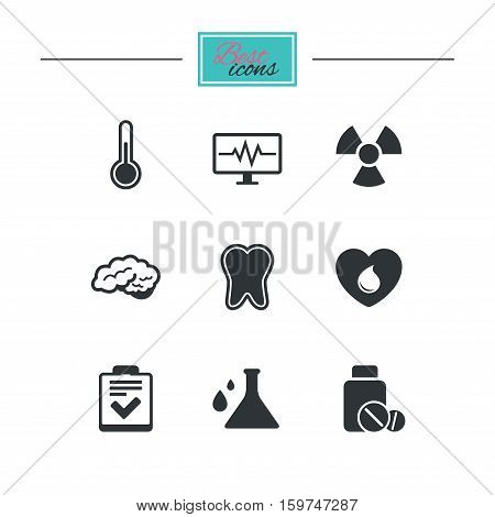 Medicine, medical health and diagnosis icons. Blood donate, thermometer and pills signs. Tooth, neurology symbols. Black flat icons. Classic design. Vector