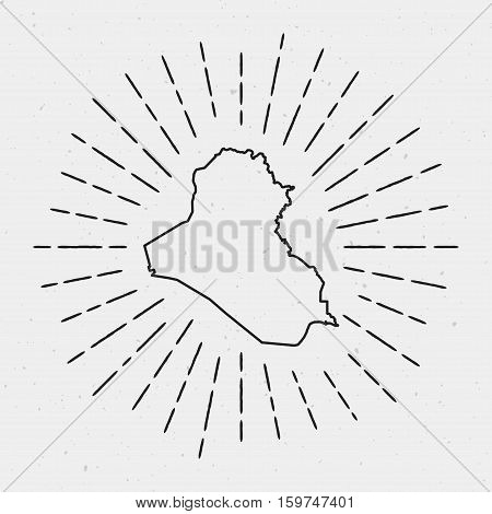 Vector Iraq Map Outline With Retro Sunburst Border. Hand Drawn Hipster Decoration Element. Black Rad