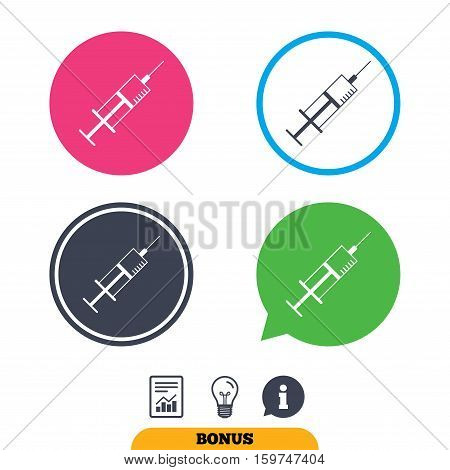Syringe sign icon. Medicine symbol. Report document, information sign and light bulb icons. Vector