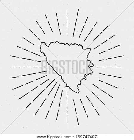 Vector Bosnia And Herzegovina Map Outline With Retro Sunburst Border. Hand Drawn Hipster Decoration