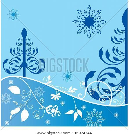 winter trees with foliage and snowflakes