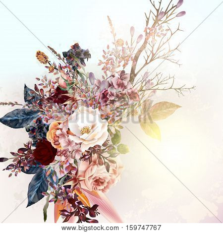 Beautiful vector background or illustration with flowers and roses