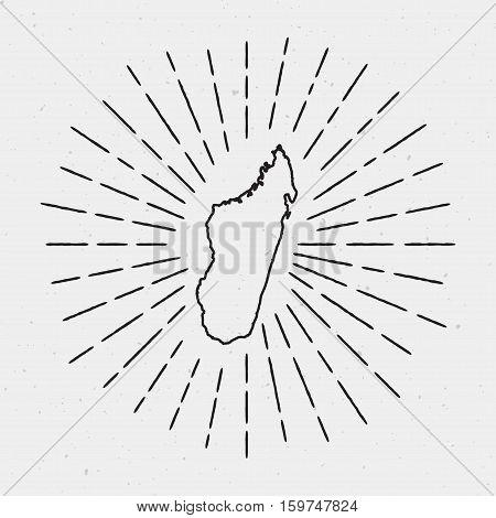 Retro Sunburst Hipster Design. Madagascar Map Surrounded By Vintage Sunburst Rays. Trendy Hand Drawn