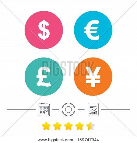 Dollar, Euro, Pound and Yen currency icons. USD, EUR, GBP and JPY money sign symbols. Calendar, cogwheel and report linear icons. Star vote ranking. Vector
