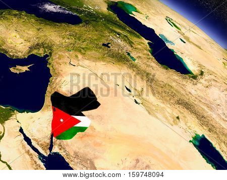 Jordan With Embedded Flag On Earth