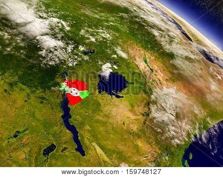 Burundi With Embedded Flag On Earth