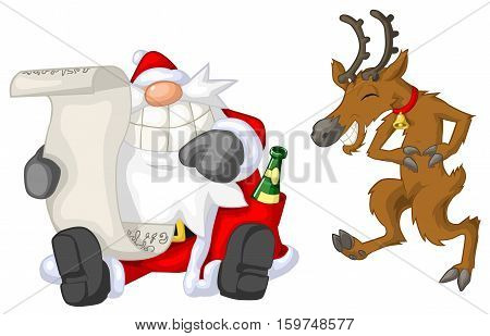 Santa Claus and reindeer reading, Christmas party celebration humorous cartoon, vector, isolated
