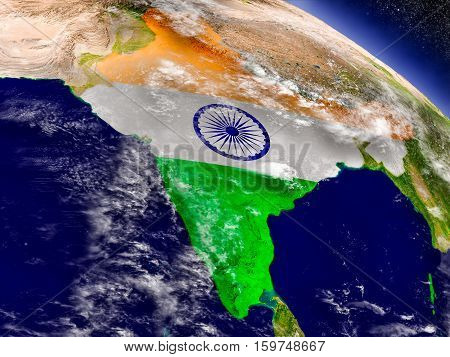 India With Embedded Flag On Earth
