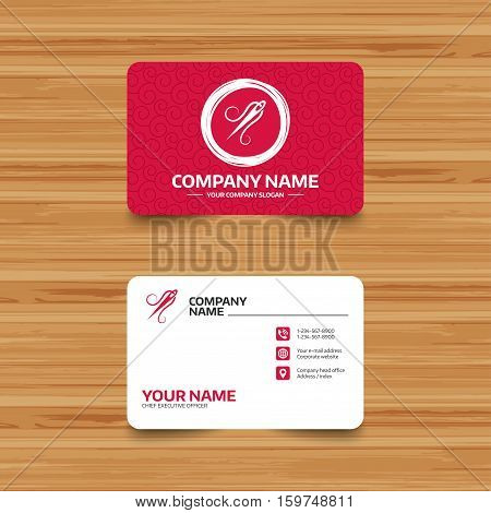 Business card template with texture. Needle with thread icon. Tailor symbol. Textile sew up craft sign. Embroidery tool. Phone, web and location icons. Visiting card  Vector