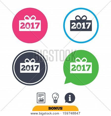 Happy new year 2017 sign icon. Christmas gift anf tree. Report document, information sign and light bulb icons. Vector