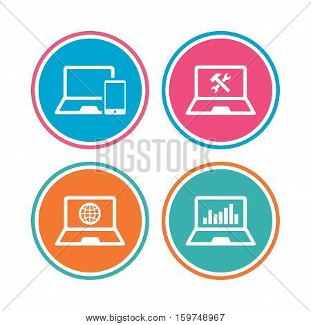 Notebook laptop pc icons. Internet globe sign. Repair fix service symbol. Monitoring graph chart. Colored circle buttons. Vector