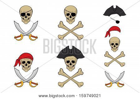Pirate Skull icon set. Vector design templates. EPS8 illustration.