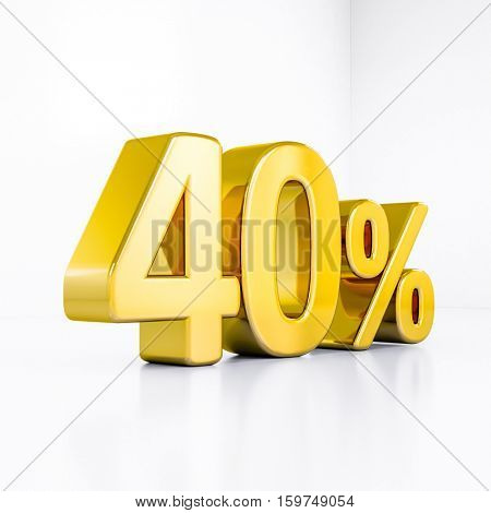 3d render: Golden 40 Percent Off Discount Sign, Gold Special Offer 40% Discount Tag, Sticker