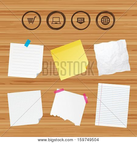 Business paper banners with notes. Online shopping icons. Notebook pc, shopping cart, buy now arrow and internet signs. WWW globe symbol. Sticky colorful tape. Vector