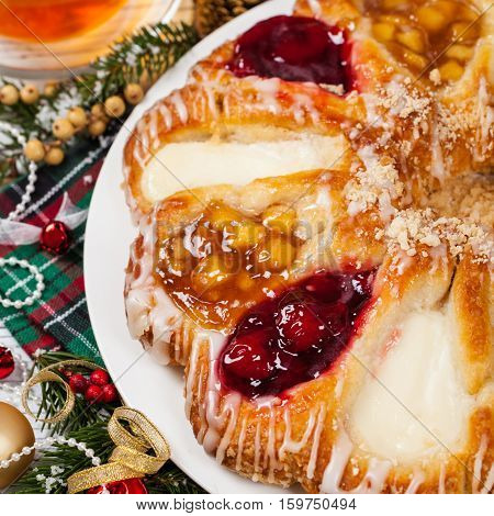 Christmas Dessert Background. Danish Pastry Rings. Selective focus.