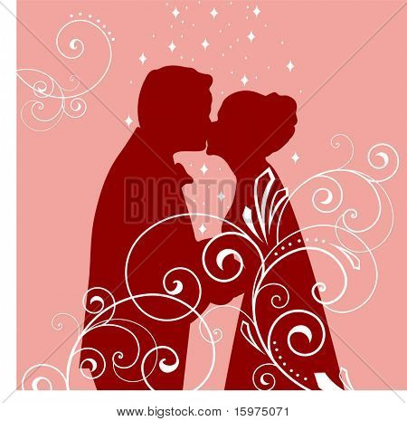 wedding kiss with filigree silhouette