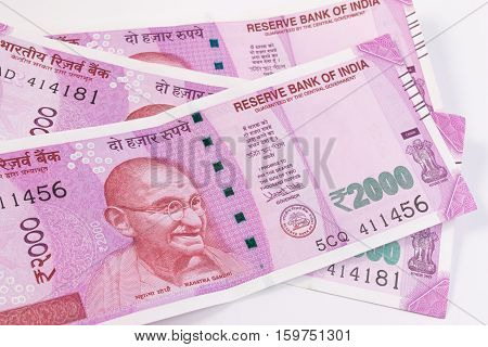2000 Rupee, New Indian Currency Publish On 9 November 2016. Close Up Of The New Rupee 2000 Banknote.
