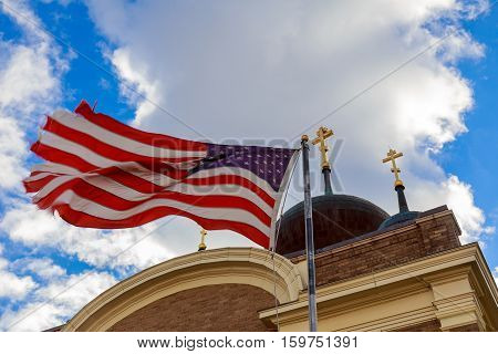 God Bless America American flag and church steeple beautiful, besides, christian