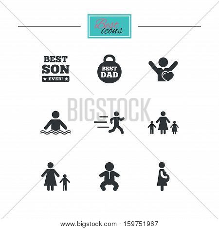 People, family icons. Swimming, baby and pregnant woman signs. Best dad, runner and fan symbols. Black flat icons. Classic design. Vector