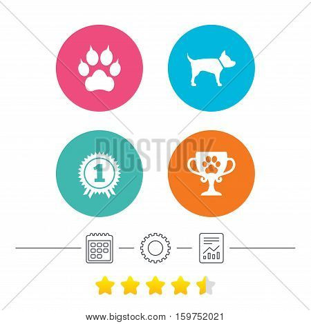 Pets icons. Cat paw with clutches sign. Winner cup and medal symbol. Dog silhouette. Calendar, cogwheel and report linear icons. Star vote ranking. Vector