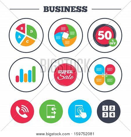 Business pie chart. Growth graph. Phone icons. Touch screen smartphone sign. Call center support symbol. Cellphone keyboard symbol. Incoming and outcoming calls. Super sale and discount buttons