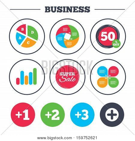 Business pie chart. Growth graph. Plus icons. Positive symbol. Add one, two, three and four more sign. Super sale and discount buttons. Vector