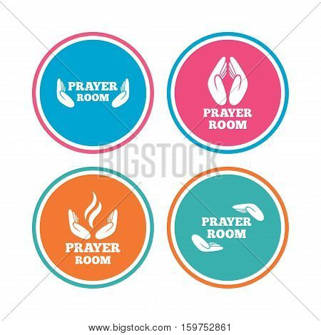 Prayer room icons. Religion priest faith symbols. Pray with hands. Colored circle buttons. Vector