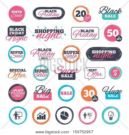Sale shopping stickers and banners. Diagram graph Pie chart icon. Presentation billboard symbol. Man standing with pointer sign. Website badges. Black friday. Vector