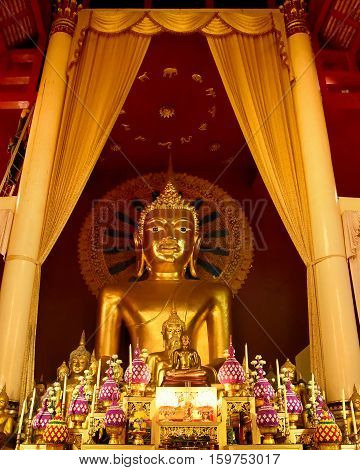 Phra sri sanphet statue in Wat Phra Singh temple Buddha statue in Chiang mai North of Thailand. This is a public domain of treasure of Buddhism' no restrict is copy or use no name of artist appear.