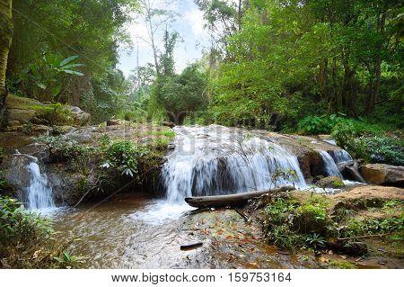 Mae Sa Noi waterfallnature trail at Queen Sirikit Botanic Garden Mae Rim Chiang Mai North of Thailand