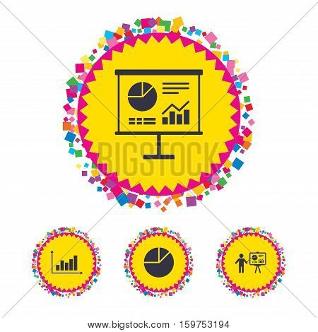 Web buttons with confetti pieces. Diagram graph Pie chart icon. Presentation billboard symbol. Supply and demand. Man standing with pointer. Bright stylish design. Vector