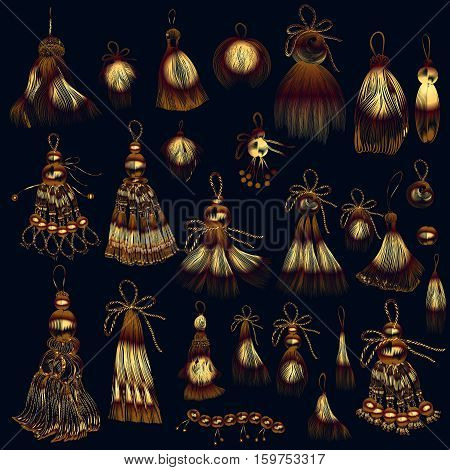 Collection of vector tassels in golden color for design