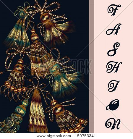 Fashion vector background with tassels for design