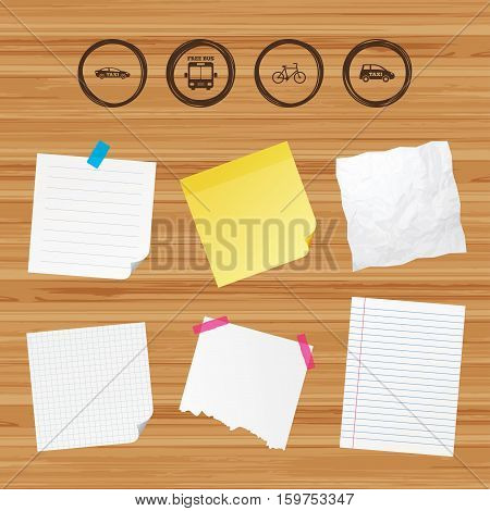 Business paper banners with notes. Public transport icons. Free bus, bicycle and taxi signs. Car transport symbol. Sticky colorful tape. Vector